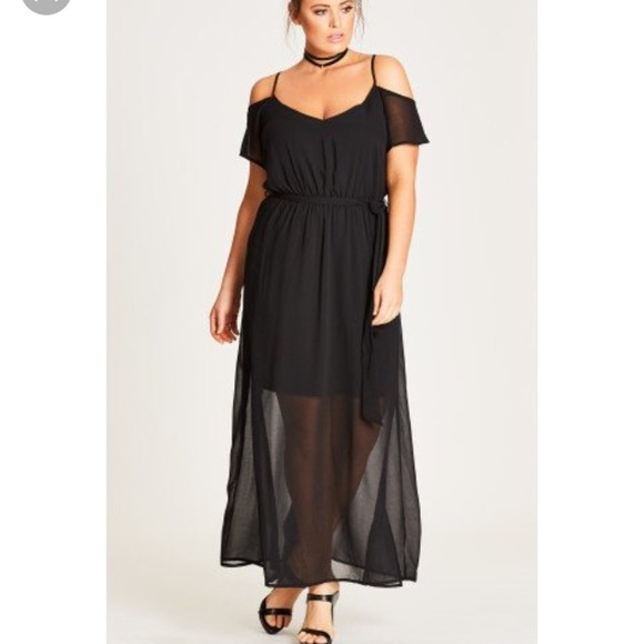 1be83c82bc City Chic Dresses | Off The Shoulder Black Maxi Dress | Poshmark